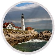 Round Beach Towel featuring the photograph Portland Headlight by John Haldane