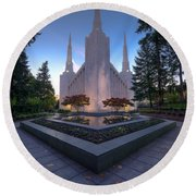 Portland Temple Round Beach Towel by Dustin  LeFevre