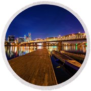 Portland Under The Stars Round Beach Towel