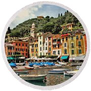Portofino Harbor 2 Round Beach Towel by Allen Beatty