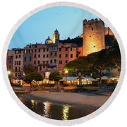 Portovenere At Night Round Beach Towel by Dany Lison