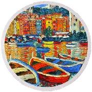 Portovenere Harbor - Italy - Ligurian Riviera - Colorful Boats And Reflections Round Beach Towel