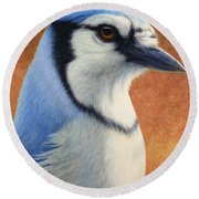 Portrait Of A Bluejay Round Beach Towel by James W Johnson