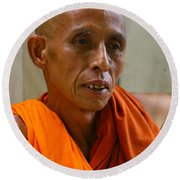 Portrait Of A Buddhist Monk Yangon Myanmar Round Beach Towel