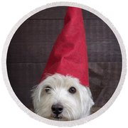 Portrait Of A Garden Gnome Round Beach Towel