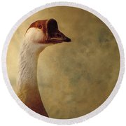 Portrait Of A Goose Round Beach Towel