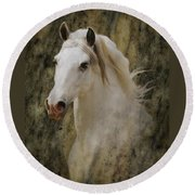 Portrait Of A Horse God Round Beach Towel