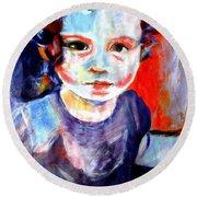 Portrait Of A Little Girl Round Beach Towel