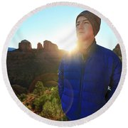 Portrait Of A Male Hiker In Sedona Round Beach Towel