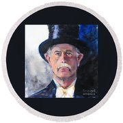 Round Beach Towel featuring the painting Portrait Of A Man In Top Hat by Greta Corens