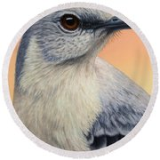 Portrait Of A Mockingbird Round Beach Towel