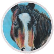 Round Beach Towel featuring the painting Portrait Of A Wild Horse by Jeanne Fischer
