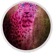 Portrait Of A Pink Leopard Round Beach Towel