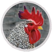Round Beach Towel featuring the painting Portrait Of A Rooster by Deborah Boyd