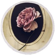 Portrait Of A Rose Round Beach Towel