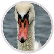 Round Beach Towel featuring the photograph Portrait Of A Swan by William Selander