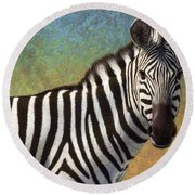 Portrait Of A Zebra Round Beach Towel