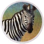 Portrait Of A Zebra Round Beach Towel