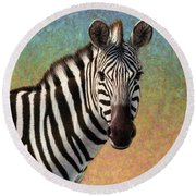 Round Beach Towel featuring the painting Portrait Of A Zebra - Square by James W Johnson
