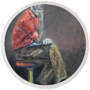 Portrait Of Ali Akrei - The Painter Round Beach Towel