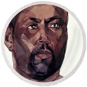 Watercolor Portrait Of An Athlete Round Beach Towel