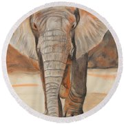 Round Beach Towel featuring the painting Portrait Of An Elephant by Jeanne Fischer