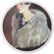 Portrait Of Anna Grilikhes Round Beach Towel