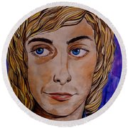 Portrait Of Barry 2 Round Beach Towel