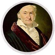 Portrait Of Carl Friedrich Gauss, 1840 Oil On Canvas Round Beach Towel