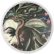 Self Portrait  Round Beach Towel by Carrie Maurer