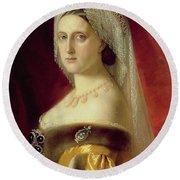 Portrait Of Grand Duchess Maria Nikolaevna Round Beach Towel