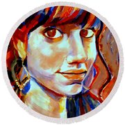 Round Beach Towel featuring the painting Portrait Of Ivana by Helena Wierzbicki