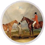 Portrait Of John Drummond On A Hunter With A Groom Holding His Second Horse Round Beach Towel