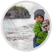 Portrait Of Little Boy Standing At Lake Round Beach Towel