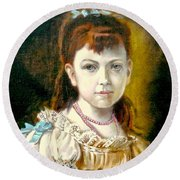 Portrait Of Little Girl Round Beach Towel