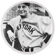 Portrait Of Lou Gehrig Round Beach Towel