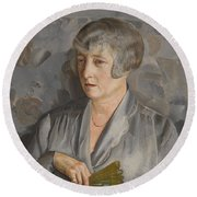 Portrait Of Madame Barthelemy With A Green Fan Round Beach Towel
