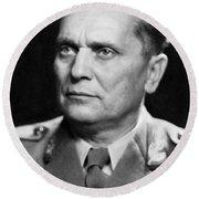 Portrait Of Marshal Tito Round Beach Towel