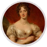Portrait Of Mary Anne Bloxam Round Beach Towel