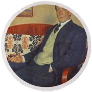Portrait Of Peter Kapitza 1926 Round Beach Towel