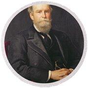 Portrait Of Sir John Lubbock 1834-1913, 1st Baron Avebury Oil On Canvas Round Beach Towel