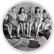 Portrait Of Six Women Round Beach Towel