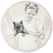 Portrait Of Sylwia Round Beach Towel