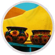 Portrait Of Taos Round Beach Towel