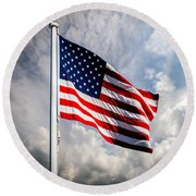 Portrait Of The United States Of America Flag Round Beach Towel