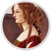 Portrait Of Young Woman By Botticelli Round Beach Towel