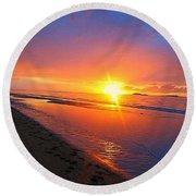 Portrush Sunset Round Beach Towel