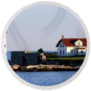 Portsmouth Harbor Light Round Beach Towel by Kevin Fortier