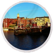 Portsmouth In The Afternoon Round Beach Towel