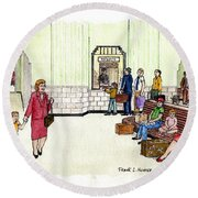 Portsmouth Ohio Train Station Ticket Window Buying A Bag Of Chips1940s Round Beach Towel